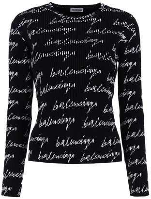 Balenciaga Black And White Ribbed Logo Knit Sweater