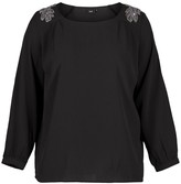 Zizzi Round Neck Blouse with Shoulder Details and 3/4 Length Sleeves