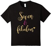 Kids 7th Birthday Girl Pink Seven and Fabulous T-Shirt