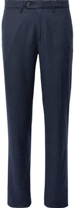 Canali Midnight-Blue Melange Virgin Wool-Flannel Trousers