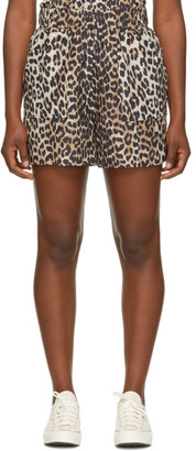 Ganni Black and Brown Silk Work Shorts
