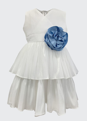 Helena Girl's Tiered Taffeta Dress w/ Flower, Size 7-12