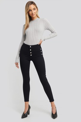 Trendyol Button Detailed High Waist Skinny Jeans Blue