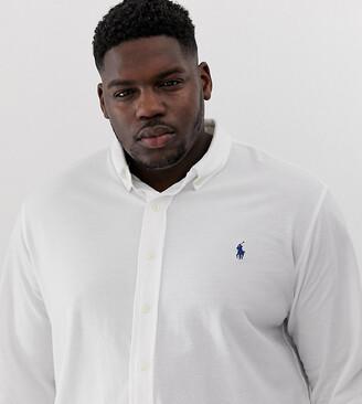 Polo Ralph Lauren Big & Tall player logo button down pique shirt in white