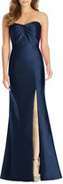 Alfred Sung Strapless Sweetheart Draped-Bodice Gown w/ Thigh-Slit