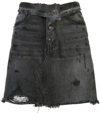 Amiri fold over denim skirt