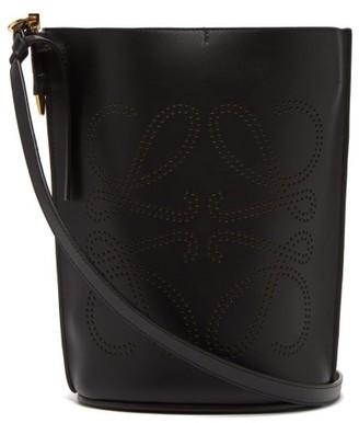 Loewe Gate Anagram-perforated Leather Bucket Bag - Womens - Black