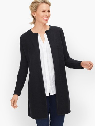 Talbots Textured Open Front Sweater Jacket - Solid