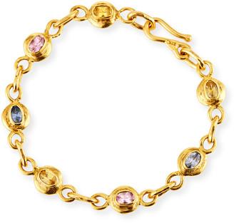 Jean Mahie Cadene 22k Yellow Gold Multi-Sapphire Bracelet