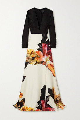 Costarellos Elisha Crepe And Floral-print Satin Gown - Orange