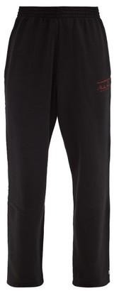 Martine Rose Logo-print Cotton-jersey Wide-leg Track Pants - Black