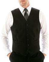 JCPenney Stafford Executive Super 100 Wool Black Stripe Black Stripe Suit Vest - Classic