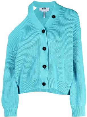 MSGM One-Shoulder Buttoned Cardigan
