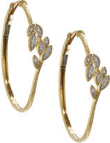 Jude Frances 18k Pave Diamond Leaf Hoop Earrings