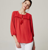 LOFT Quilted Tassel Blouse