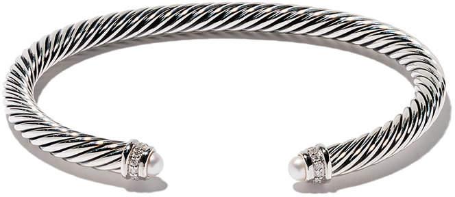 David Yurman Cable Classics pearl and diamond cuff bracelet