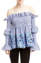 Romeo & Juliet Couture Smocked Floral Embroidery Off-the-Shoulder Blouse
