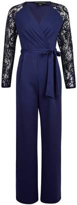Dorothy Perkins Womens **Navy Lace Sleeve Jumpsuit