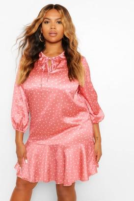 boohoo Plus Peplum Hem Polka Dot Smock Dress