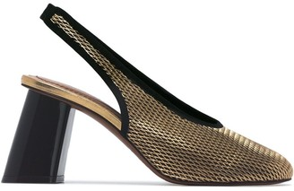 Marni Metallic gold 80 netted leather slingback pumps