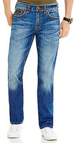 True Religion Ricky Slim Straight Contrast-Stitch Jeans