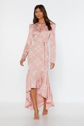 Nasty Gal Womens Not Today Satin Ruffle Midi Dress - Beige - S