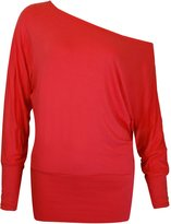 Fashion Wardrobe Womens One Off Shoulder Top Ladies Batwing Baggy Long Sleeve T Shirt Tops 8-14 (USA 10-12 / UK 12-14 (M/L), )