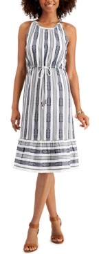 Style&Co. Style & Co Striped Jacquard Midi Dress, Created for Macy's
