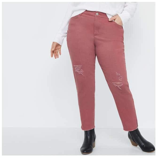 Joe Fresh Women+ Distressed Colour Denim Jeans, Dark Maroon (Size 18)