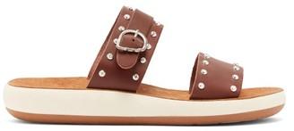 Ancient Greek Sandals Preveza Leather Slides - Womens - Dark Brown