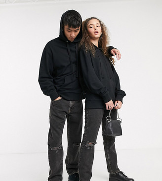 Collusion x000 Unisex 90's fit straight leg jeans in washed black