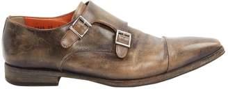 Santoni Grey Leather Flats