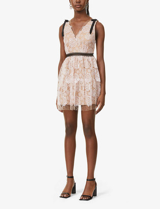 Self-Portrait Starlet rose-embroidered lace mini dress