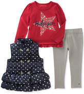 Tommy Hilfiger 3-Pc. Vest, Long-Sleeve T-Shirt & Denim Leggings Set, Toddler Girls (2T-5T)