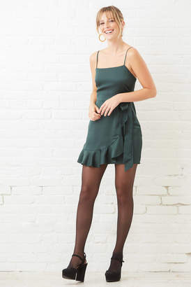 A Love Like You Green Ruffle Shine Mini Dress Forest Grn S