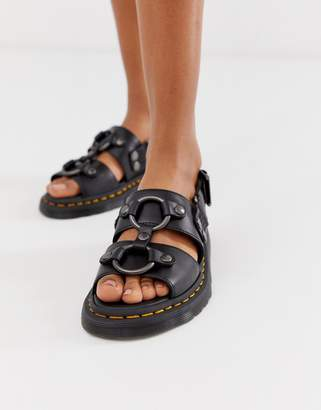 Dr. Martens Xabier hardware leather sandals in black