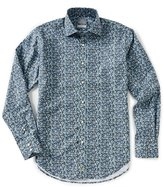Thomas Dean Leaf Print Long-Sleeve Woven Shirt