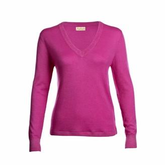 Asneh Mathilda Fine Knit Cashmere V Neck Phlox Pink