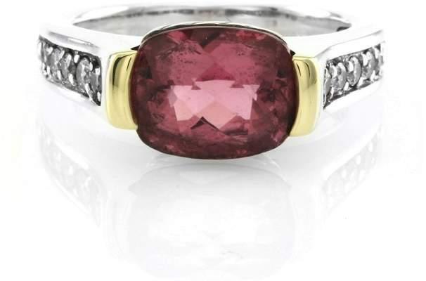 David Yurman Sterling Silver & 18K Yellow Gold Tourmaline Diamonds Ring Size 6.75