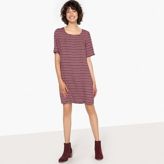 La Redoute Collections Geometric Print Shift Dress with Stripe at Back