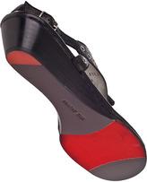 Robert Zur Eyelet Tassel Wedge Sandal Black Leather