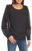 Halogen Petite Women's Ruffle Sleeve Sheer Blouse