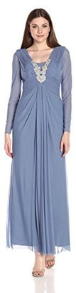 Marina Women's Long Dress with Sheer Sleeves and Beaded Applique