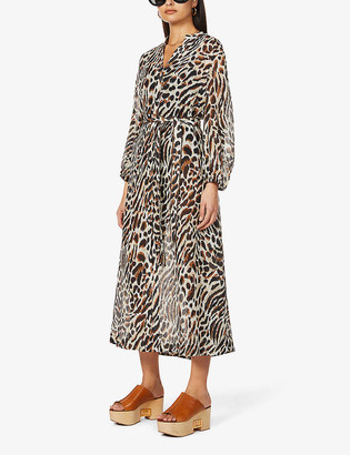 Jets Prowess leopard-print cotton and silk-blend maxi dress