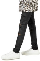 Topman AAA Collection Coated Ripped Stretch Skinny Fit Jeans
