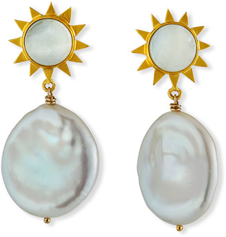 Dina Mackney Mother-of-Pearl & Coin Pearl Sun Earrings