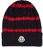 Moncler Men's Striped Cable-Knit Wool-Cashmere Beanie-NAVY