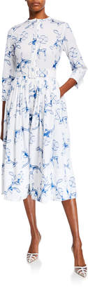 Oscar de la Renta Floral Belted Cotton Poplin Shirtdress