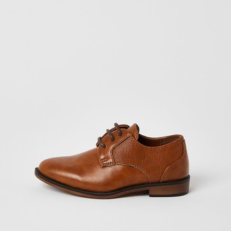 River Island Mini boys brown lace-up pointed shoes