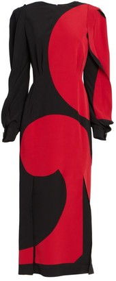 Givenchy Printed Puff-Sleeve Silk Midi Dress
